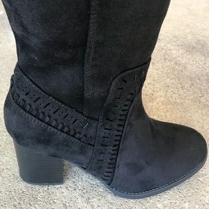 Soda Shoes - Soda Mention Black Faux Suede Knee High Heel BOOT